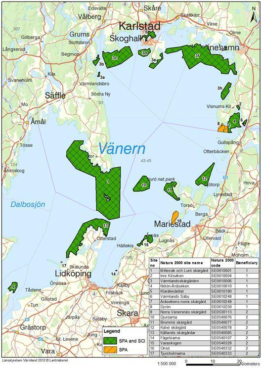 Karta över Vänerskärgården
