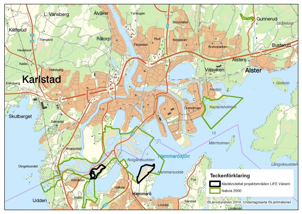 Karta över projektområdenas läge i Klarälvsdeltat