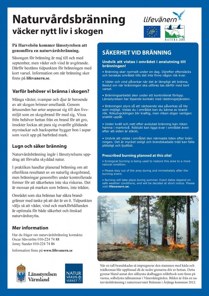 Informationsskylt Bränning Harvelsön