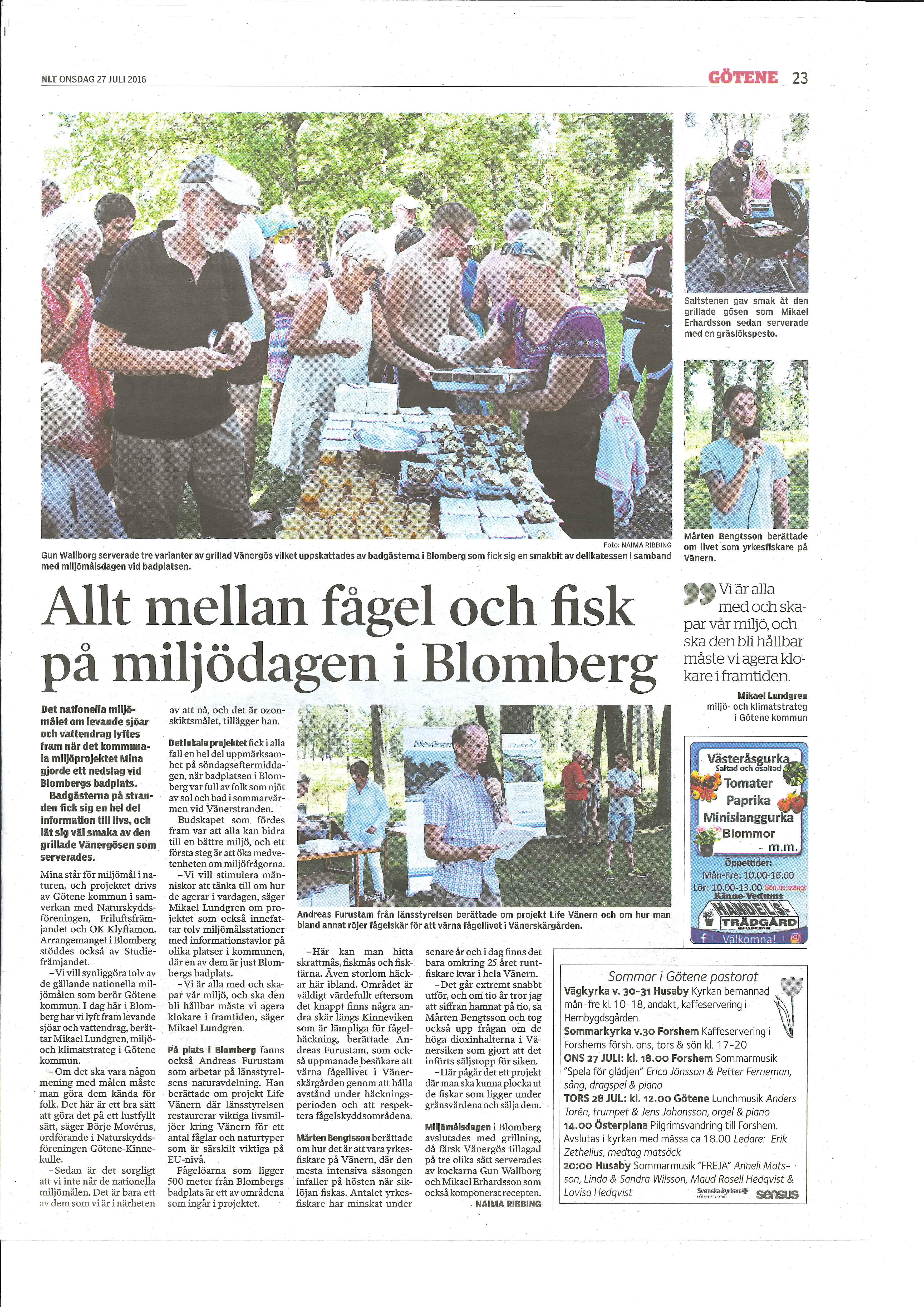 Artikel i Nya Lidköpings-Tidningen 2016-07-27