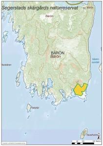 Bränningsområdet markerat med orange på sydöstra delen av Bärön i Segerstad skärgård.